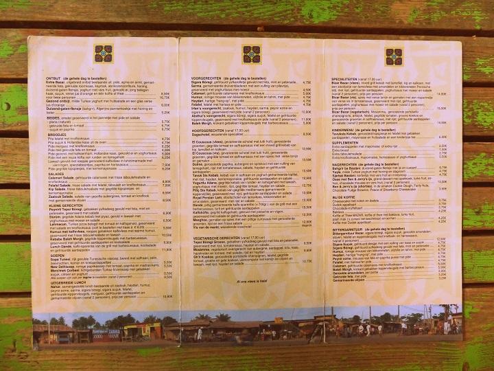 menukaart restaurant bazar