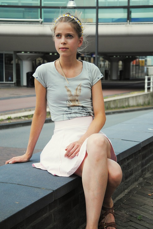 Outfit pastel pink skaterskirt