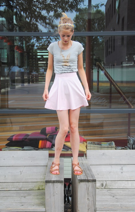 outfit pink skaterskirt