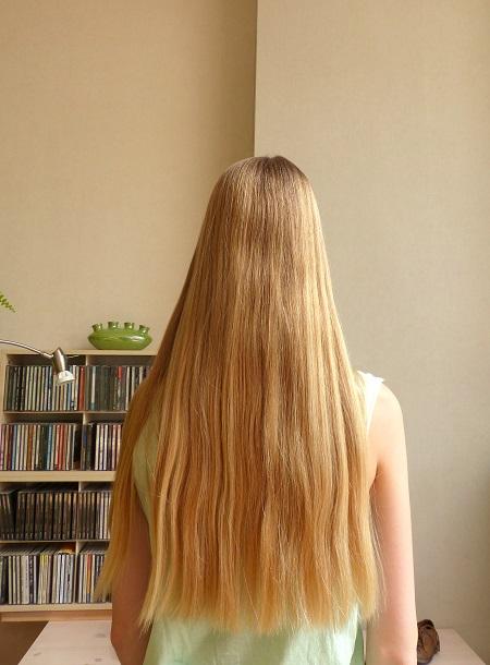 lang, stijl, blond haar