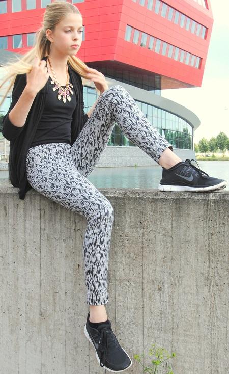 Outfit met geprinte broek