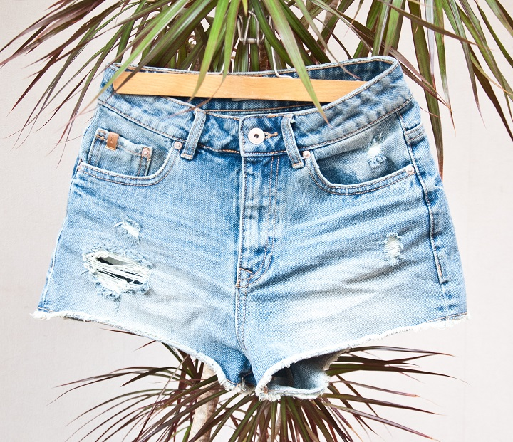 high waisted ripped denim short